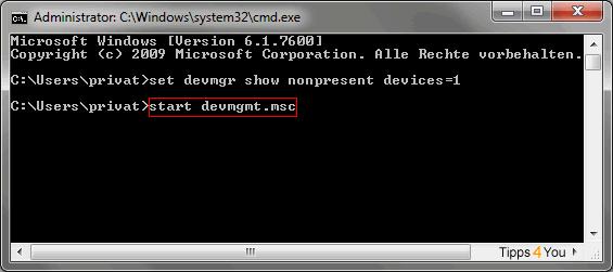 Im Geräte-Manager klicken Sie auf den Menüpunkt Ansicht und anschließend auf Ausgeblendete Geräte anzeigen.