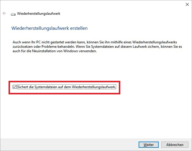 Windows 10: Recovery Stick erstellen