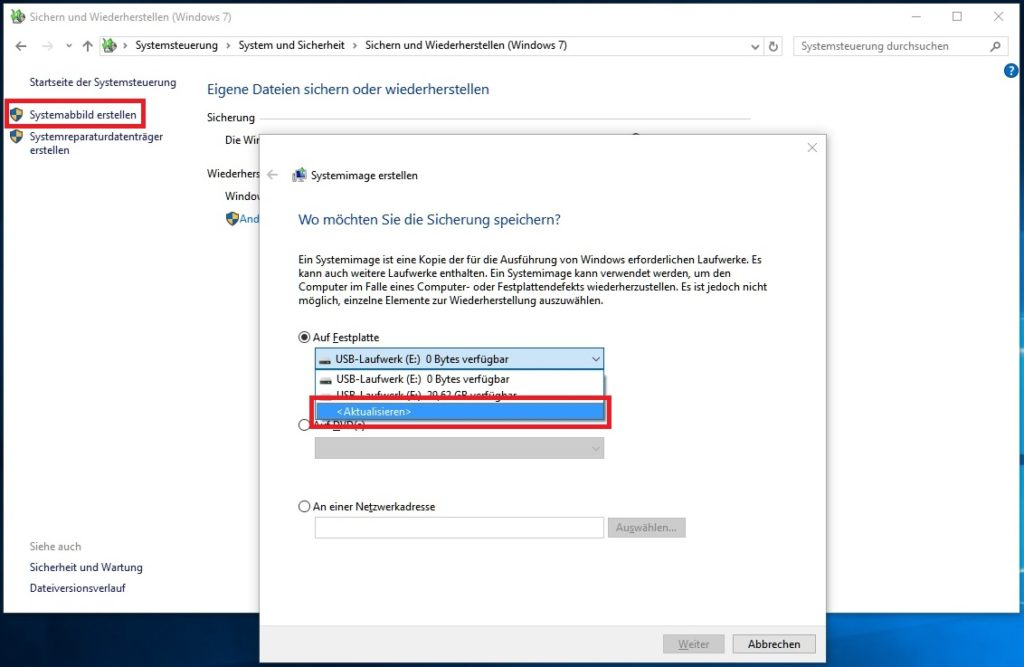 Windows 10: Systemabbild erstellen