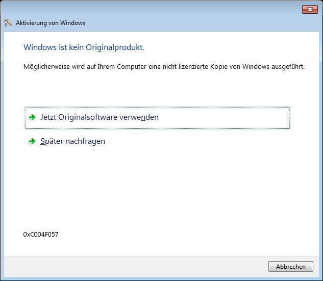 Windows- Meldung: kein Originalprodukt