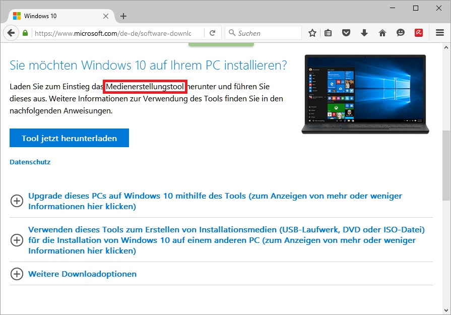 Windows 10: Download des Medienerstellungstools
