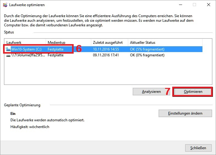 Windows 10: Laufwerk optimieren