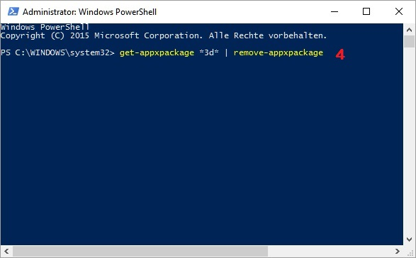 Windows 10: PowerShell zur Deinstallation von vorinstallierten Apps