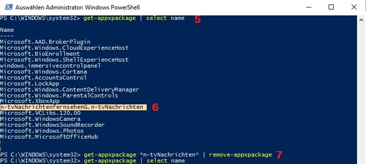 Windows 10: PowerShell zur Deinstallation von Apps